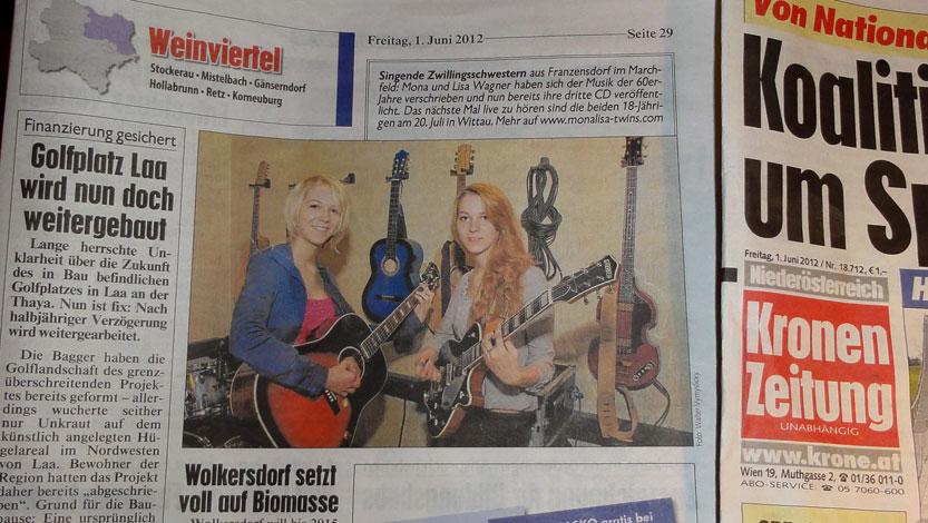 MonaLisa Twins in NÖ Krone, an Austrian Newspaper