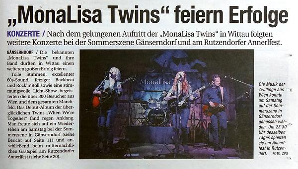 MonaLisa Twins live concert review in Niederösterreichische Nachrichten regional newspaper