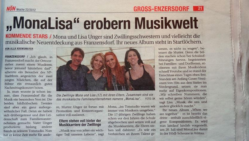 MonaLisa Twins in the NÖN, a regional Austrian newspaper