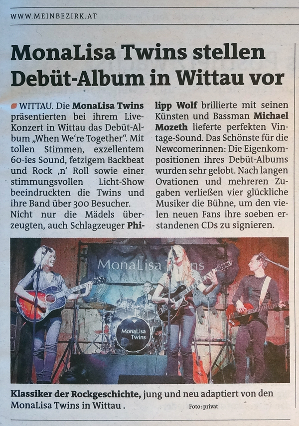 MonaLisa Twins live concert review in Bezirksblatt regional newspaper