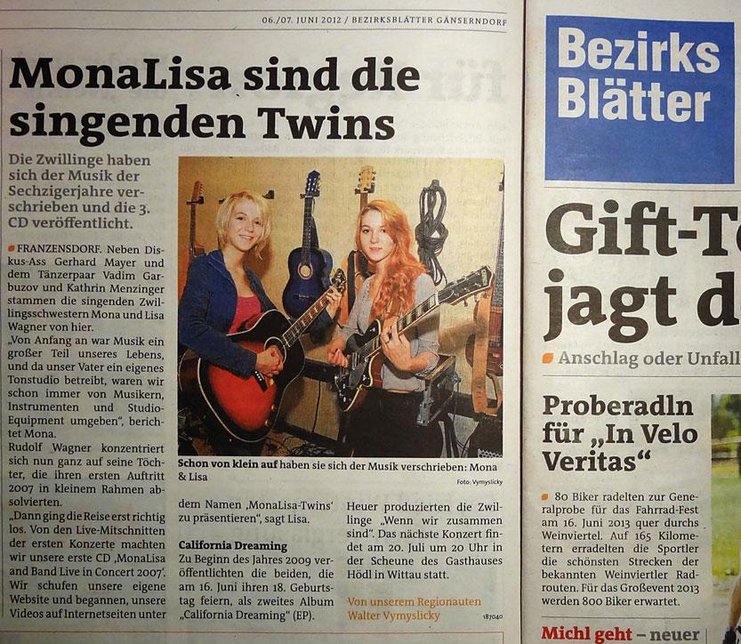 MonaLisa Twins in Bezirksblatt, an Austrian Newspaper