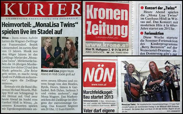 MonaLisa Twins  Konzert Ankünder in Zeitungen